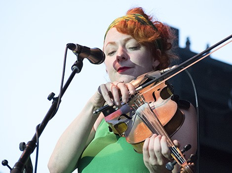 Great Lake Swimmers violinist Miranda Mulholland on the TD Main Stage at the 2016 Salmon Arm Roots & Blues Festival. Photo by Craig Gilbert